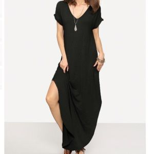 Dresses & Skirts - ONLY 2 LEFT!⭐️💕Cuffed Sleeve Slit Maxi w Pockets!